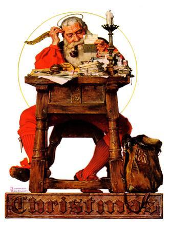 """Santa at His Desk"", December 21,1935 by Norman Rockwell"