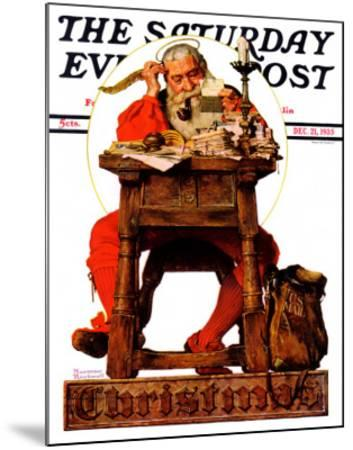"""Santa at His Desk"" Saturday Evening Post Cover, December 21,1935"