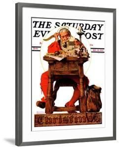 """Santa at His Desk"" Saturday Evening Post Cover, December 21,1935 by Norman Rockwell"