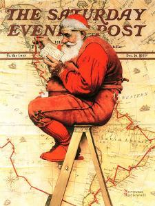 """Santa at the Map"" Saturday Evening Post Cover, December 16,1939 by Norman Rockwell"
