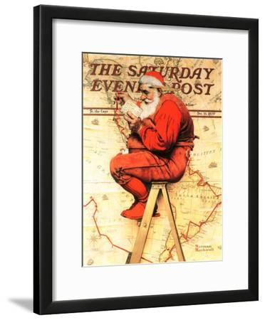 """Santa at the Map"" Saturday Evening Post Cover, December 16,1939"