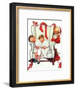 Santa Looking at Two Sleeping Children (or Santa Filling the Stockings) by Norman Rockwell