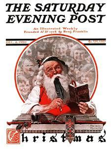 """""""Santa's Expenses"""" Saturday Evening Post Cover, December 4,1920 by Norman Rockwell"""