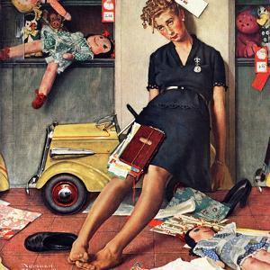 """""""Santa's Helper"""", December 27,1947 by Norman Rockwell"""