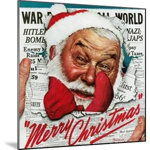 """""""Santa's in the News"""", December 26,1942 by Norman Rockwell"""