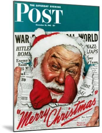 """Santa's in the News"" Saturday Evening Post Cover, December 26,1942 by Norman Rockwell"