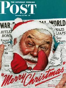 """""""Santa's in the News"""" Saturday Evening Post Cover, December 26,1942 by Norman Rockwell"""