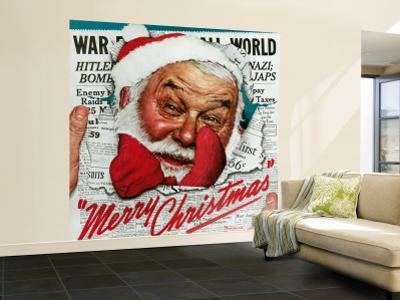 """""""Santa's in the News"""" Saturday Evening Post Cover, December 26,1942"""