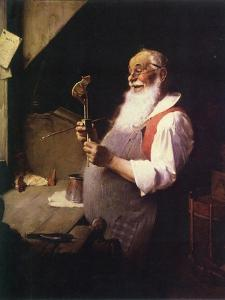 Santa's Workshop (or Santa working in his shop) by Norman Rockwell