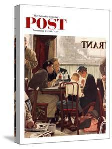 """""""Saying Grace"""" Saturday Evening Post Cover, November 24,1951 by Norman Rockwell"""