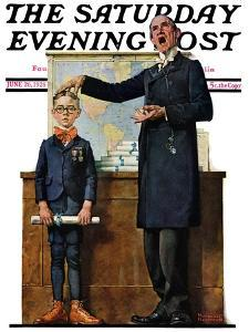 """Schoolmaster"" or ""First in his Class"" Saturday Evening Post Cover, June 26,1926 by Norman Rockwell"