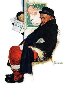 """""""See Him at Drysdales"""" (Santa on train), December 28,1940 by Norman Rockwell"""