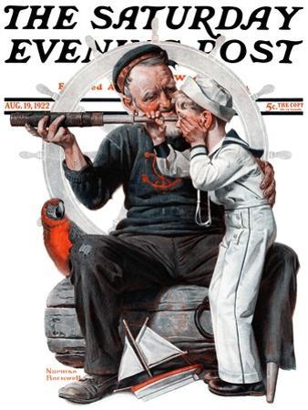 """Setting One's Sights"" or ""Ship Ahoy"" Saturday Evening Post Cover, August 19,1922 by Norman Rockwell"