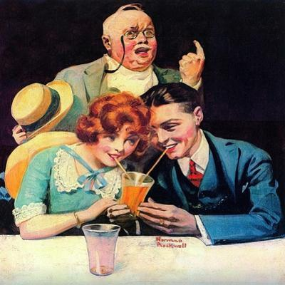 Sharing A Soda by Norman Rockwell