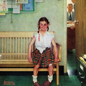 """""""Shiner"""" or """"Outside the Principal's Office"""" Saturday Evening Post Cover, May 23,1953 by Norman Rockwell"""
