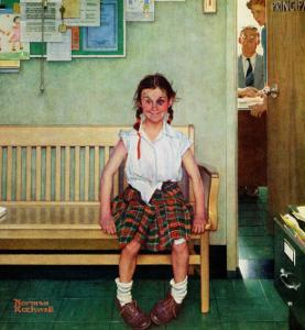 """Shiner"" or ""Outside the Principal's Office"" Saturday Evening Post Cover, May 23,1953 by Norman Rockwell"