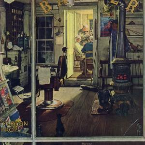 """Shuffleton's Barbershop"", April 29,1950 by Norman Rockwell"