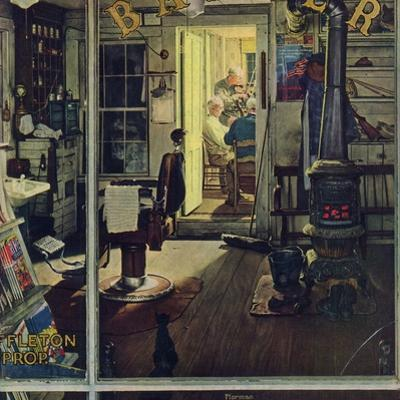 """Shuffleton's Barbershop"", April 29,1950 by Norman Rockwell"