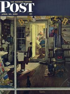 """""""Shuffleton's Barbershop"""" Saturday Evening Post Cover, April 29,1950 by Norman Rockwell"""
