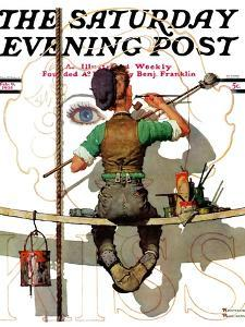 """Signpainter"" Saturday Evening Post Cover, February 9,1935 by Norman Rockwell"