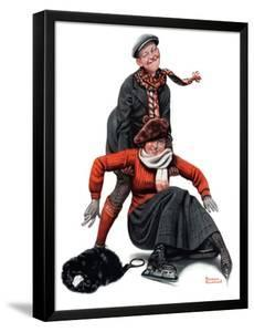 """""""Skating Lesson"""", February 7,1920 by Norman Rockwell"""