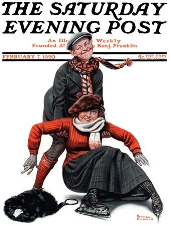 """""""Skating Lesson"""" Saturday Evening Post Cover, February 7,1920 by Norman Rockwell"""