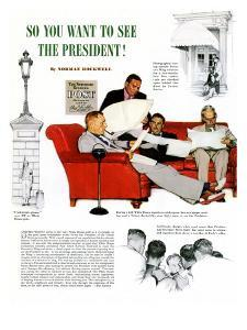 """""""So You Want to See the President"""" A, November 13,1943 by Norman Rockwell"""