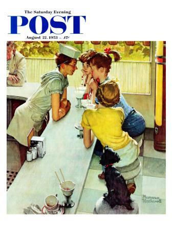 """""""Soda Jerk"""" Saturday Evening Post Cover, August 22,1953 by Norman Rockwell"""