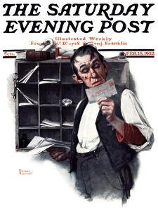 """""""Sorting the Mail"""" Saturday Evening Post Cover, February 18,1922 by Norman Rockwell"""