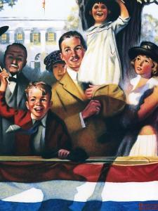Spectators at a Parade by Norman Rockwell