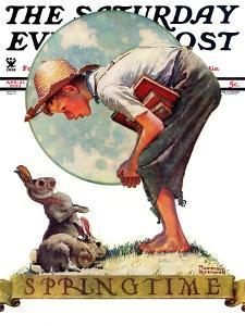 """""""Springtime, 1935 boy with bunny"""" Saturday Evening Post Cover, April 27,1935 by Norman Rockwell"""