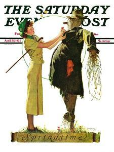 """Springtime, 1936"" Saturday Evening Post Cover, April 25,1936 by Norman Rockwell"