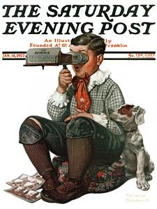 """Stereopticon"" or ""Sphinx"" Saturday Evening Post Cover, January 14,1922 by Norman Rockwell"