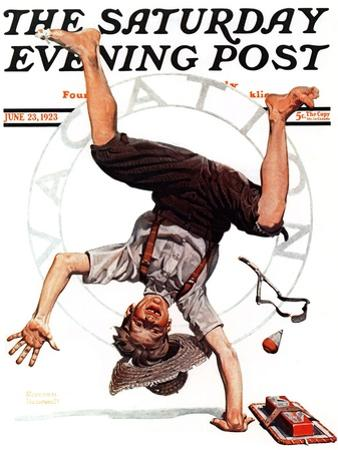 """""""Summer Vacation, 1923"""" Saturday Evening Post Cover, June 23,1923 by Norman Rockwell"""