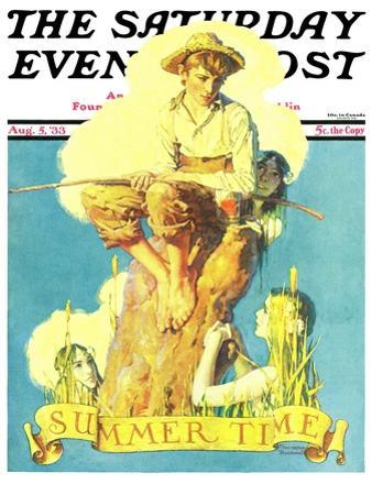 """""""Summertime, 1933"""" Saturday Evening Post Cover, August 5,1933 by Norman Rockwell"""