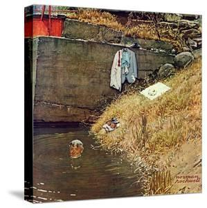 """""""Swimming Hole"""", August 11,1945 by Norman Rockwell"""