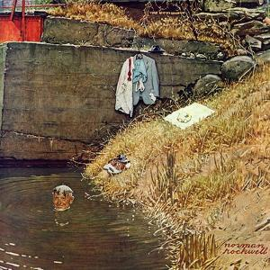 """Swimming Hole"", August 11,1945 by Norman Rockwell"