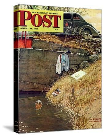 """Swimming Hole"" Saturday Evening Post Cover, August 11,1945"