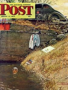 """Swimming Hole"" Saturday Evening Post Cover, August 11,1945 by Norman Rockwell"