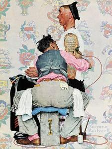 """Tattoo Artist"", March 4,1944 by Norman Rockwell"