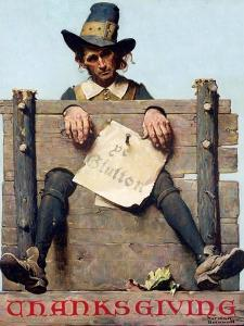 Thanksgiving-Ye Glutton (or Pilgrim in Stockade) by Norman Rockwell