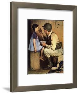 The American Way (or Soldier Feeding Girl) by Norman Rockwell