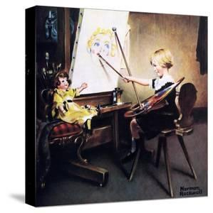 The Artist's Daughter (or Little Girl with Palette at Easel) by Norman Rockwell