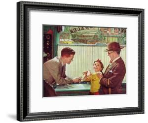 The Jewelry Shop (or Girl Trying on Jewelry) by Norman Rockwell
