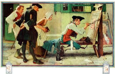 """""""The New Tavern Sign"""", February 22,1936 by Norman Rockwell"""