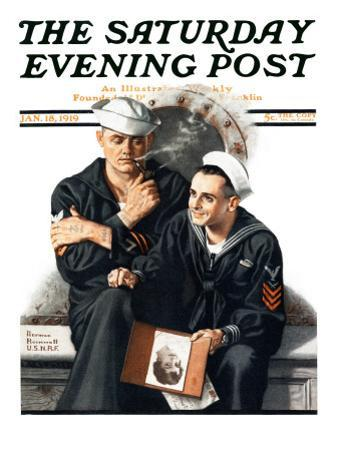 """Thinking of the Girl Back Home"" Saturday Evening Post Cover, January 18,1919"