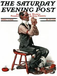 """""""Threading the Needle"""" Saturday Evening Post Cover, April 8,1922 by Norman Rockwell"""