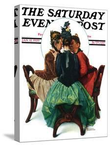 """Three Gossips"" Saturday Evening Post Cover, January 12,1929 by Norman Rockwell"