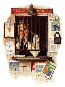"""""""Ticket Agent"""", April 24,1937 by Norman Rockwell"""