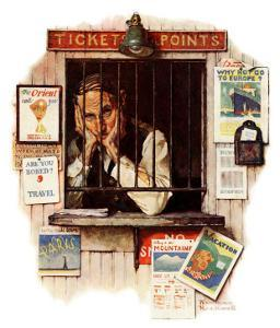"""Ticket Agent"", April 24,1937 by Norman Rockwell"